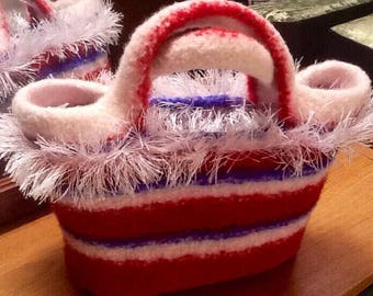 Red, White, Blue  Felted Tote