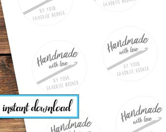 Printable Sticker Set - Handmade with love by your favorite hooker - crochet gift stickers - avery round labels - black and white grey