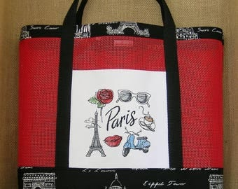 Vinyl Mesh Tote Bag, Paris Tote Bag, Paris, Tote Bag
