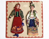 Vintage Hand Painted Folk Art Wood Figures, Traditional Costumes Of Hungary, Wall Art,