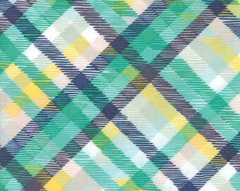Midnight Garden Fabric // Teal and Yellow Tartan Plaid Quilting Fabric  // 1canoe2 // cotton quilting