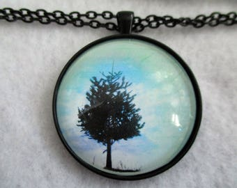 Solitary TREE Silhouette Cabochon PENDANT Necklace