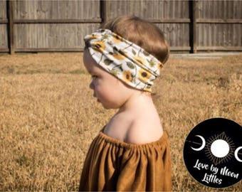 Baby Turban, Sunflower Children's Headband, Baby Hippie Turban, Newborn Head Wrap, Baby Headband, Children's Head Wraps, Boho Baby, Flowers
