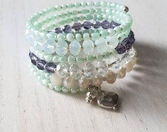 beaded wrap bracelet, boho jewelry, memory wire bracelet, stacking bracelet, mothers day gift mom gifts from daughter,  cuff bracelet