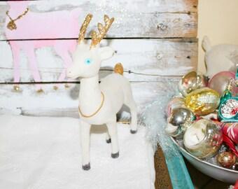 Vintage flocked white reindeer gold glitter