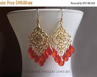QUICKIE SALE 15% OFF, Padparadscha Paradise Chandelier Earrings, cubic zirconia orange earrings. 18k gold vermeil