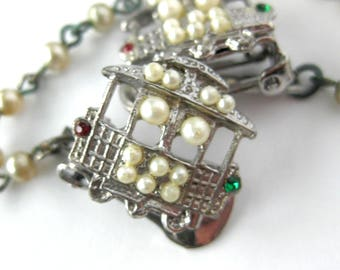 Vintage Cable Car Sweater Clip / Sweater Guard / San Francisco Cable Car Design  with Faux Pearls and Rhinestones / California Souvenir
