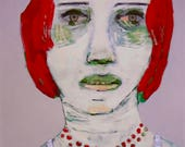 EMERY original painting 'lives abruptness calls for a pause' outsider expressionism woman folk portrait