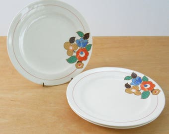 Vintage Crooksville 1039 • Set of 3 Dinner Plates • Polka Dot Flowers and Leaves with Red Ring