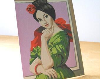 Vintage Paint By Numbers • Senorita Paint By Numbers • Spanish Woman PBN