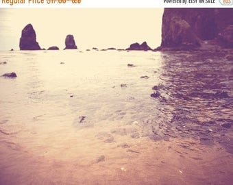 SALE photography, Cannon Beach photograph, Haystack Rock the Needles, Oregon seaside tide pool, ocean landscape, orange peach plum beach dec