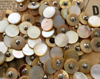 "Vintage Mother of Pearl buttons 1/2"" golden metal shank 50 new old stock antique USA"