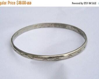 ON SALE Vintage Sterling Silver 925 Mexico X Thin Bangle Bracelet