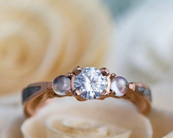 Rose Gold Engagement Ring With Meteorite, Moissanite, And Moonstones, Three Stone Wedding Ring