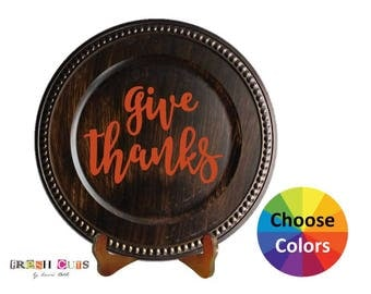 Vinyl Decal Home Decor Thanksgiving Give Thanks Quote Quotation Charger Plate DIY Gift Choose From 25 Colors
