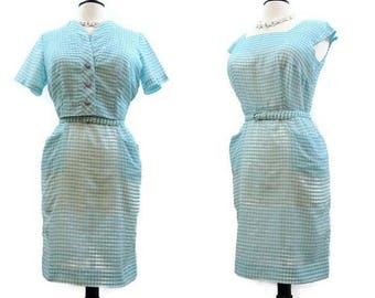 REDUCED Vintage 50s Dress Gingham Cotton Wiggle Sheath Bolero Jacket Rockabilly L