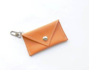 Orange Gift Card Holder -  Mini Wallet Keychain -  Genuine Leather