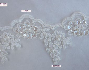 3 Inch IVORY Beaded Lace w Pearl Sequin Beaded Flower Applique Lace Trim Bridal Veil Dress Christening Hair Baby Bow