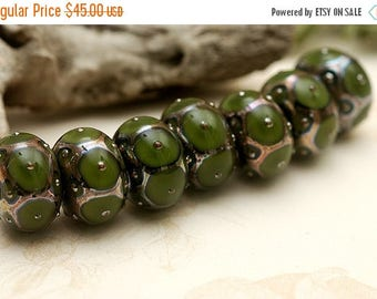 ON SALE 30% off Handmade Glass Lampwork Bead Set - Seven Pine Green w/Metal Dots Rondelle Beads 10505301