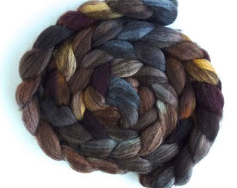 Mixed BFL Wool Roving, Hand Painted Spinning or Felting Fiber, 4 ounces, Log House