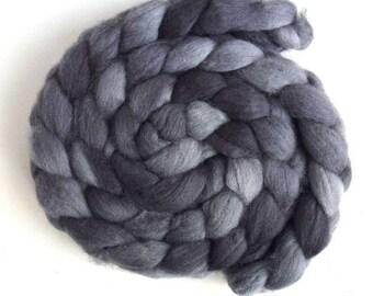 Grey, Shetland Roving - Handpainted Spinning or Felting Fiber