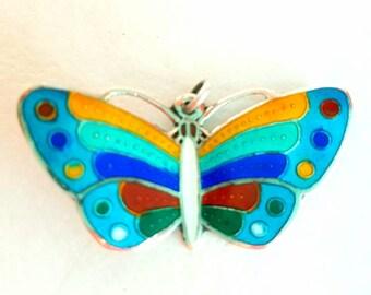 Vintage Sterling Silver Enamel Cloisonne Butterfly Pendant 70s