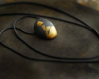 Fine Silver Gold Pendant, Keum Boo Jewelry, Matte Black Small Pendant, Ball Necklace, Ember Fire Jewelry, Bonfire, Wearable Art, Minimalist