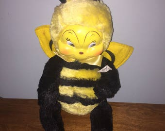 1950's Rubber Faced Plush Stuffed Bumble Bee