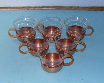 6 Vintage Copper Cups Cup Holders