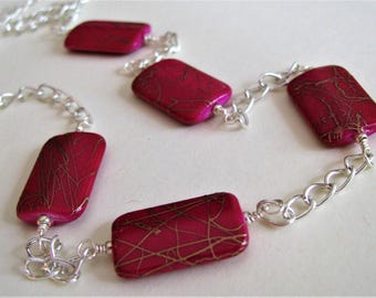 Fuchsia Purple Necklace, Red Purple Necklace, Purple Dangle Necklace, Magenta Purple and Silver Necklace