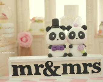 Panda Wedding Cake Topper---k927
