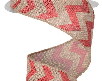 """Chevron Faux Burlap Wired Ribbon - Large Print - 2.5""""x10 yards your choice-red or lime-FREE SHIPPING"""