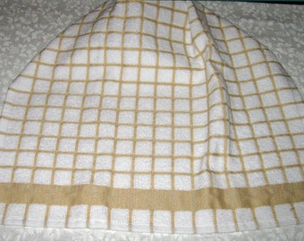 Crochet Kitchen Hanging Towel, white with tan, tan top, better Homes