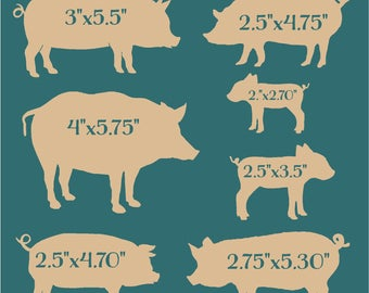 Primitive Stencil Hogs and Pigs in Different Sizes 12x12