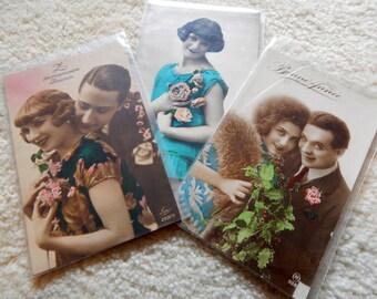 3 Vintage Postcards - Foreign - Colorized Vintage Postcards - Never Used
