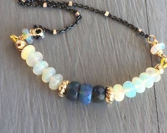 Opal Bar Necklace Minimalist Jewelry Boho Chic Necklace