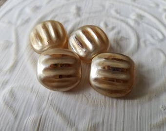 Vintage buttons, lot of 4 matching painted glass champagne color (June  420 17 )
