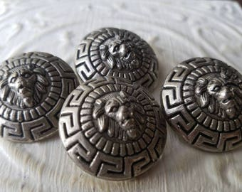 Vintage  Buttons - 4 large metal look  matching, royal lion head crested design,  silver/pewter (july 584 17)