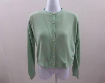 Vintage 50s Cashmere Sweater Size M Seafoam Cardigan Rockabilly 44 Chest Jumper