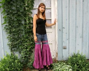 Upcycled Purple Flower Child Palazzo Pants// Medium size 10// emmevielle