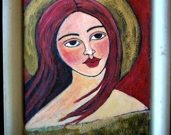 "Original Acrylic ""Angel""painting on a Vintage reclaimed metal tray  Linda Kelly"