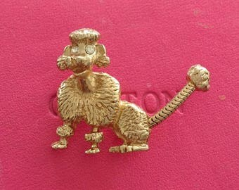 Vintage 1960s 60s Articulated Tremblant French Poodle Diamente Brooch, Poodle Pin Rockabilly Pin Up