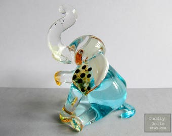 Blue Elephant Sitting Hand Blown Painted Glass Animal Figurine Collectible Gifts Wild Animal Figurine Miniatures Elephant Figurine Elephant