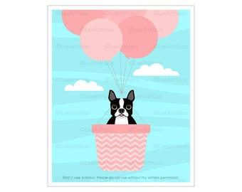 333D Dog Print - Boston Terrier in Pink Hot Air Balloon Wall Art - Pink Balloons Print - Pink Girl Nursery Decor - Boston Terrier Art Print