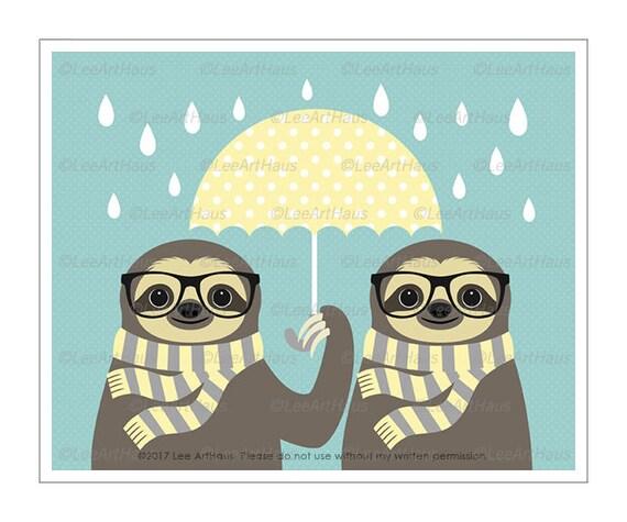 29J Sloth Print - Two Hipster Sloths with Yellow Umbrella Wall Art - Modern Wall Art for Kids - Sloth Lover Gift - Umbrella Art Print