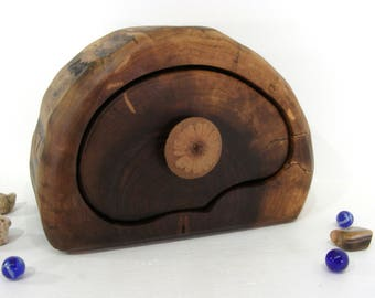 Black Walnut Trunk Box, clay flower knob, wood drawer, wedding gift, wood art, keepsakes box, wood anniversary, jewelry box