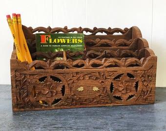 vintage wooden desk caddy - carved teak office organizer - mail sorter - brown floral boho