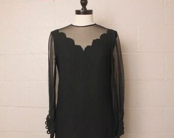 Vintage 1960's Black MOD R & K Dress Sheer Sleeves 36 bust