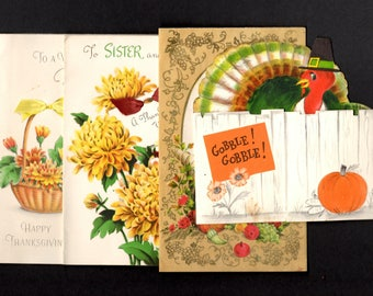 Vintage Thanksgiving Day Greeting Cards - Lot of Four