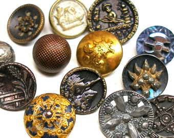 13 Antique BUTTONS, Victorian metal shabby chic picture buttons. Vintage brass.